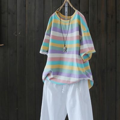 淡妝濃抹總相宜的彩虹純棉條紋短袖T恤上衣-設計所在