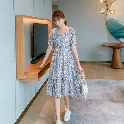 溫柔甜美滿滿印花雪紡修身連衣裙S-XL(共二色)-Dorri