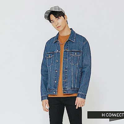 H:CONNECT 韓國品牌 男裝-經典刷色牛仔外套-藍
