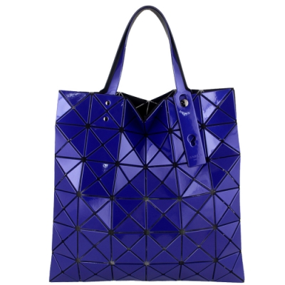ISSEY MIYAKE 三宅一生BAOBAO 三角方格6x6透光手提包(金屬藍)