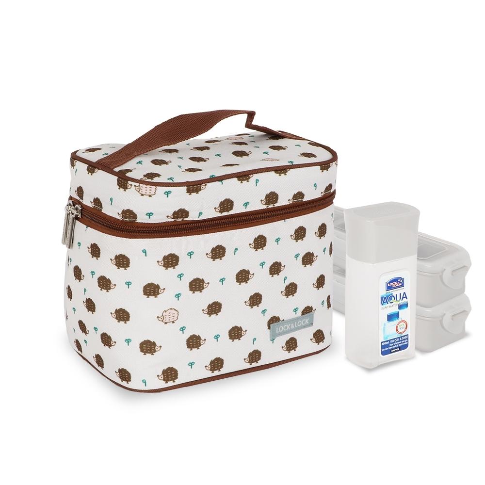 樂扣樂扣 創意便當野餐袋3入組(PP保鮮盒x2+水瓶300ML)-咖啡鼬鼠(快)