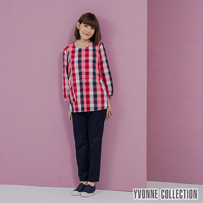 YVONNE泡泡格紋不對稱七分袖上衣- 莓紅