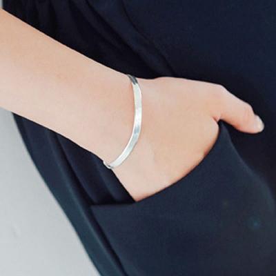 梨花HaNA 韓國925銀純銀蛇骨極簡平口手鍊