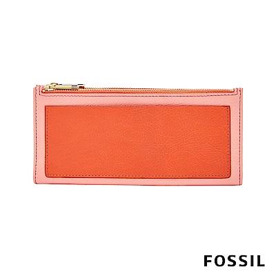 FOSSIL Shelby 真皮系列拉鍊長夾-雙色粉橘