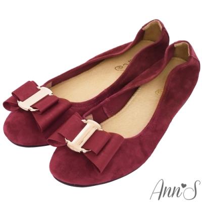 Ann'S甜蜜物語-立體雙層蝴蝶結全真皮平底娃娃鞋-酒紅