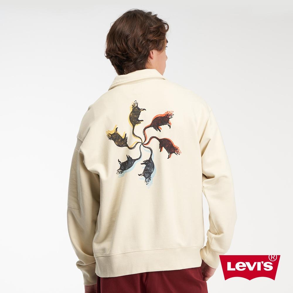 Levis 男款 半開襟重磅大學T 寬鬆休閒版型 街頭潮流印花 430GSM厚棉