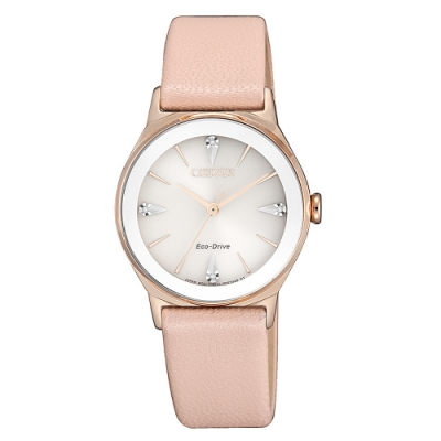 CITIZEN 星辰光動能閃耀晶鑽真皮手錶EM0733-16A-珍珠貝X粉/28mm