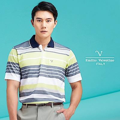 Emilio Valentino 時尚率性機能POLO_藍灰黃(66-8V1131)