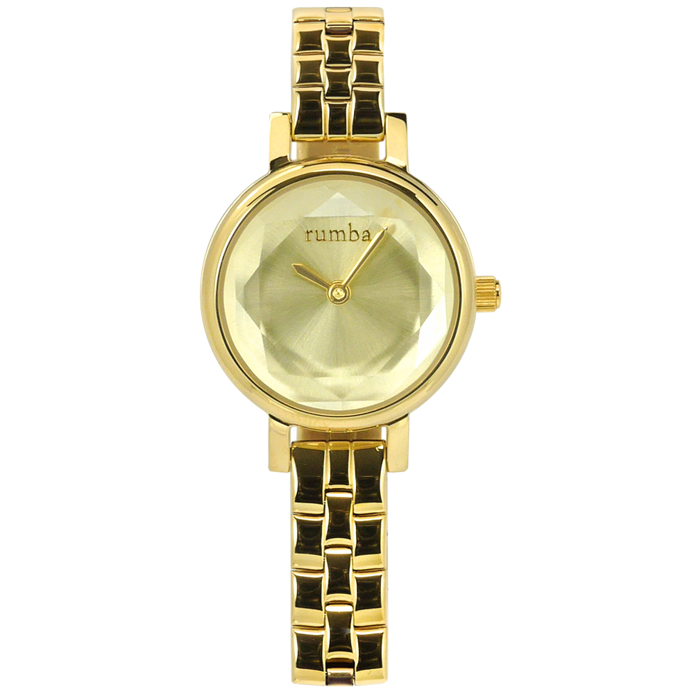 rumba time 紐約品牌 小巧細緻 切割玻璃鏡面 不鏽鋼手錶-鍍金/23mm