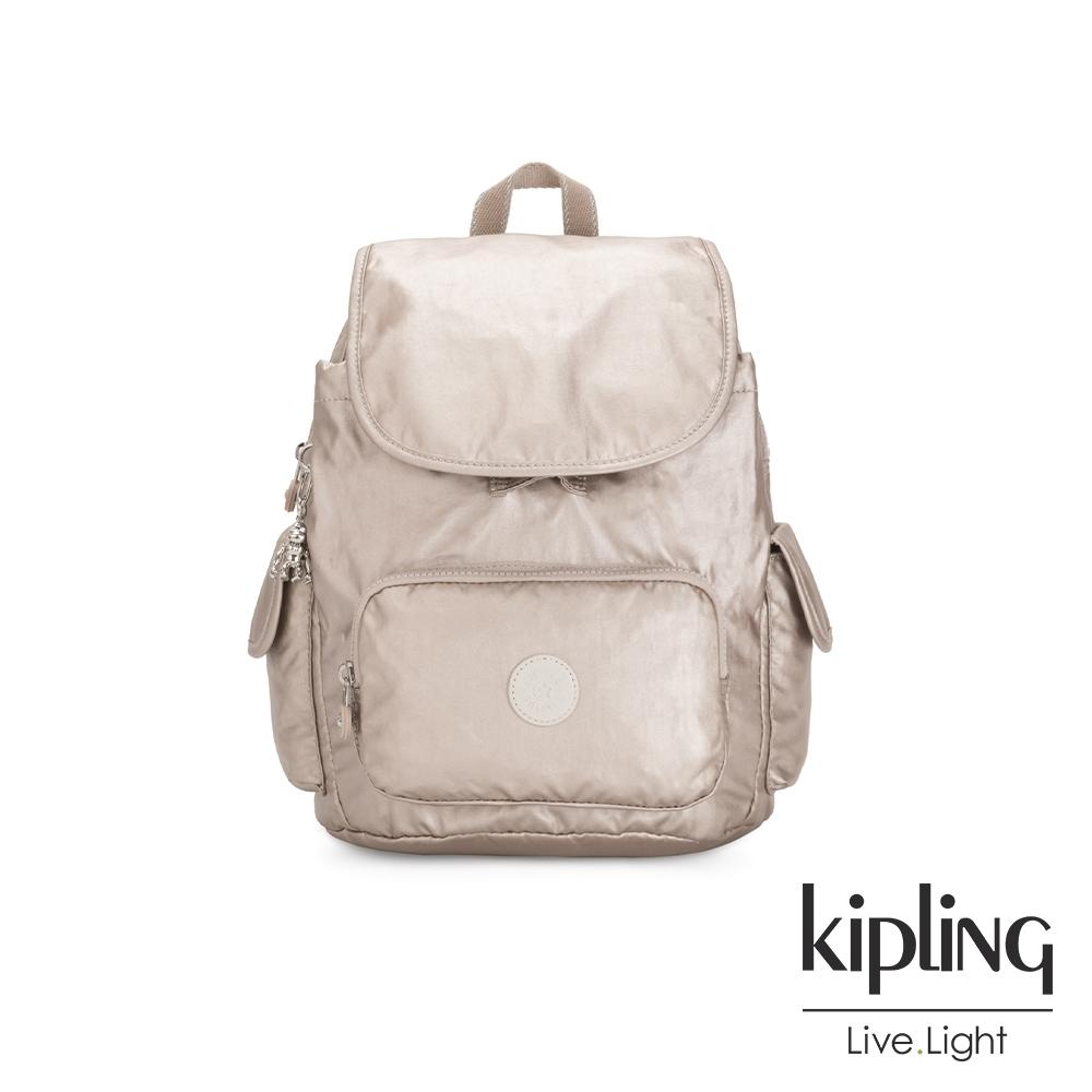 Kipling 都會時尚霧玫瑰金拉鍊掀蓋後背包-CITY PACK S