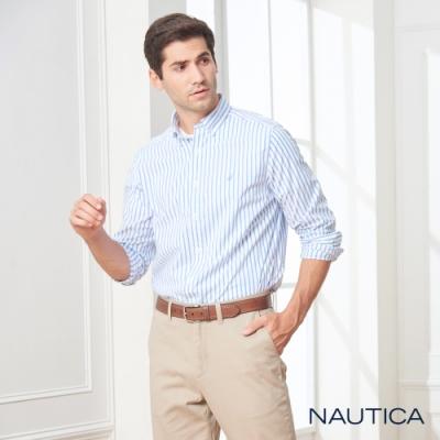Nautica經典細直條紋長袖襯衫-天空藍