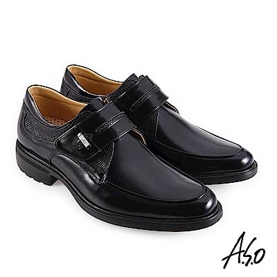A.S.O職場通勤 3D超動能異材時尚魔鬼氈紳士鞋-黑