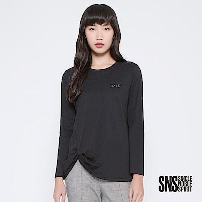 SNS 簡單生活品牌珠飾字母抓皺上衣(3色)