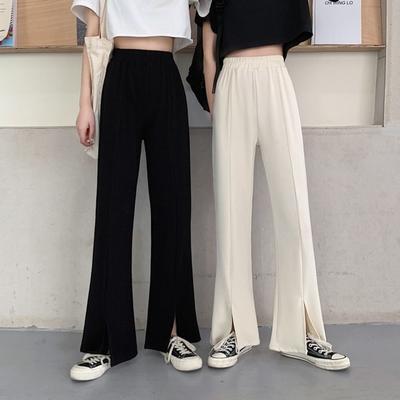 La Belleza素色鬆緊腰高腰側口袋褲腳下擺開叉闊腿寬褲
