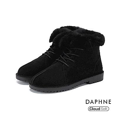 達芙妮DAPHNE 短靴-牛反毛絨面革佐兔毛綁帶短靴-黑