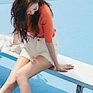 IREAL 背後品牌繡字素色鬚邊短褲