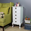 Asllie 英式古典五抽櫃-白色/收納櫃/邊櫃/電話櫃/床頭櫃-40x36x92.5cm