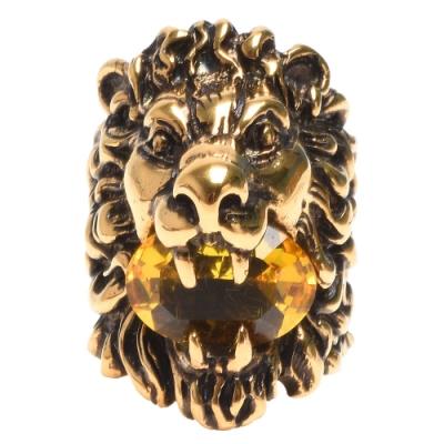 GUCCI LION系列黃水晶鑲嵌獅頭造型寬版戒指(金)