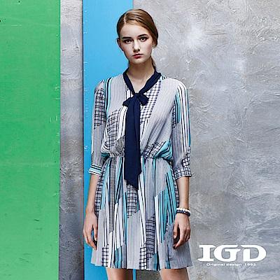 IGD英格麗 都會悠閒風海洋幾何印花領巾造型洋裝