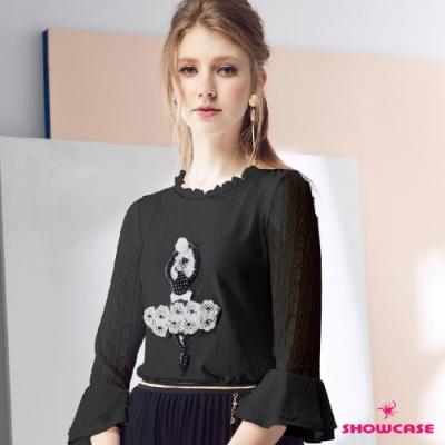 【SHOWCASE】跳舞女孩蕾絲透膚荷葉長袖上衣(黑)