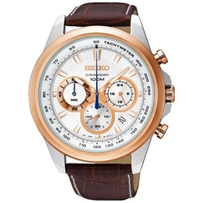 SEIKO精工   卓越帝品三眼計時視距儀石英腕錶(SSB250P1)-白x45mm