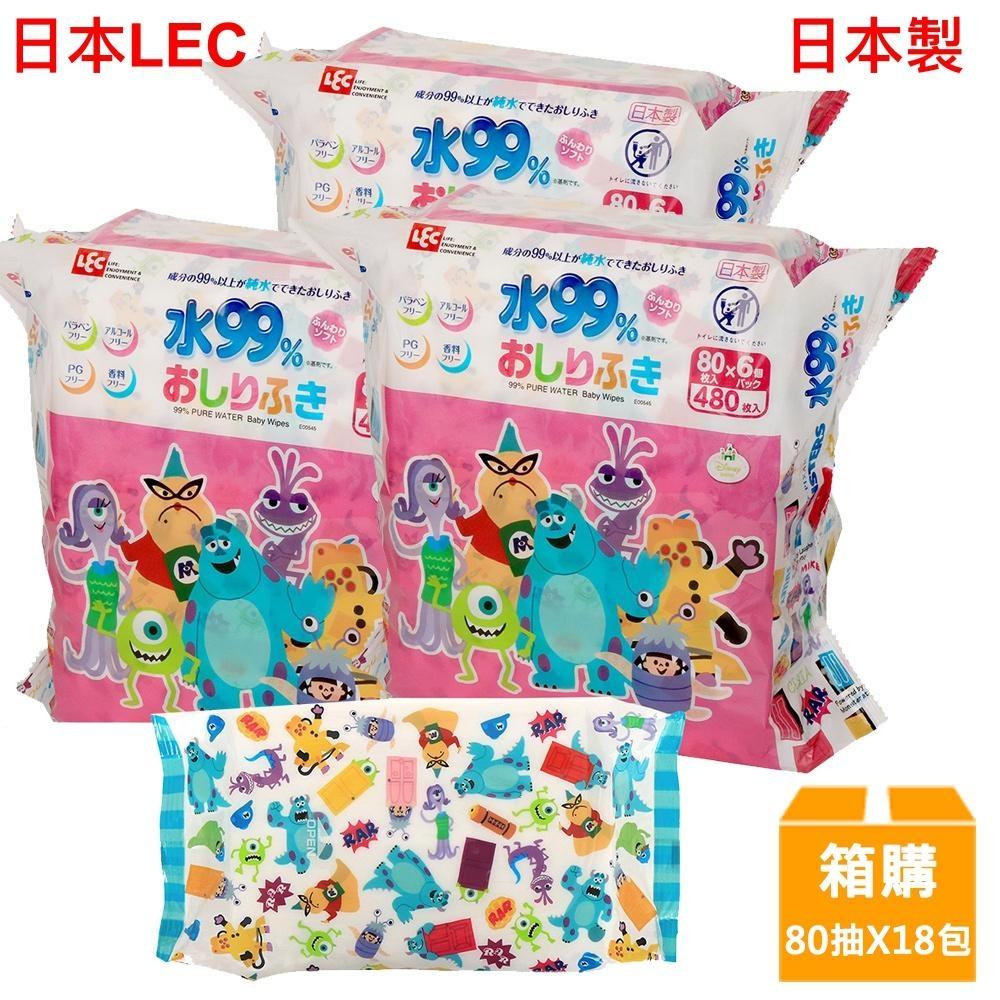 日本LEC 迪士尼怪獸電力公司-純水99%濕紙巾-80抽x18包/箱