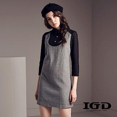 IGD英格麗 兔毛拼接立體透膚蕾絲小洋裝-深灰