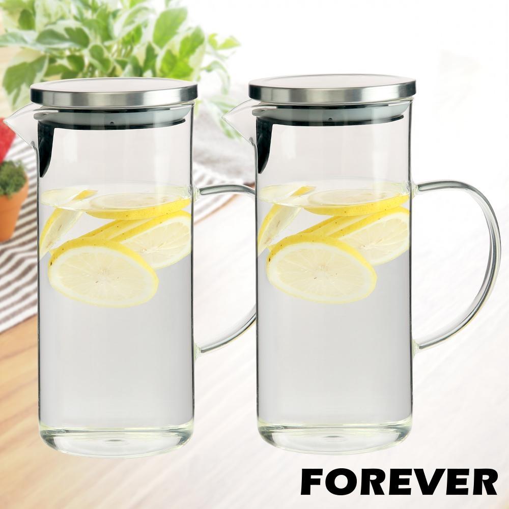 日本FOREVER 耐熱玻璃水壺 1.4L(手柄圓型款) 2入套組