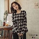 東京著衣 永遠不敗格紋質感面料附綁帶上衣(共二色)