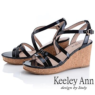 Keeley Ann細條帶 韓系牛皮簡約交叉環繞楔形涼鞋(黑色-Ann系列)