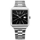 CK Gentle 爵士風尚 方形日期 瑞士機芯 不鏽鋼手錶-黑x銀/37mm