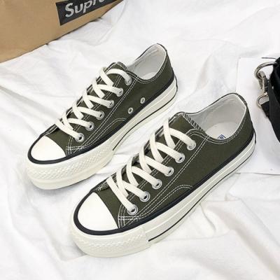 韓國KW美鞋館 可愛休閒平底帆布鞋-橄欖綠
