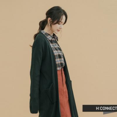 H:CONNECT 韓國品牌 女裝-素面長板針織外套-綠