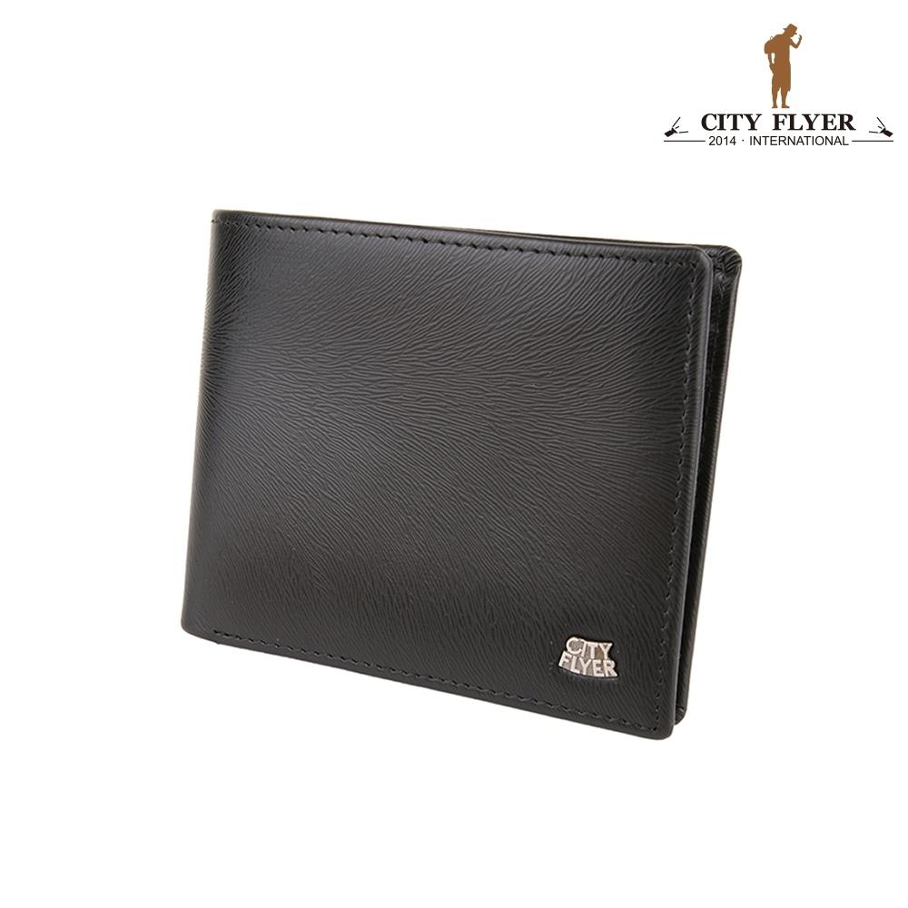 【CITY FLYER】RFID防盜刷-馬毛紋系列牛皮8卡上翻透明窗零錢皮夾 錢包短夾男夾(黑色)