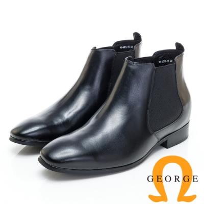 GEORGE 喬治皮鞋 內增高系列-素面直套式低跟踝靴-黑色