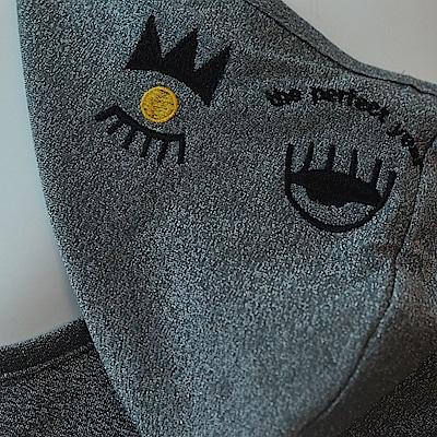 gozo 眨眼印花銀蔥針織連帽背心(深灰)