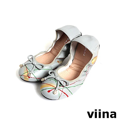 viina 時尚潑墨摺疊鞋MIT-淺灰色