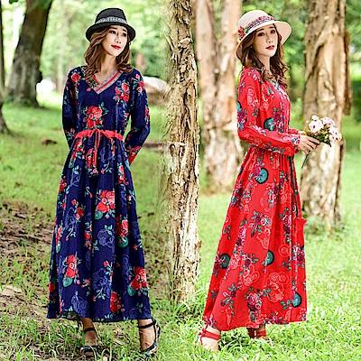 玫瑰碎花腰間綁帶洋裝-M~2XL(共二色)-維拉森林