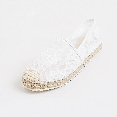 【AIRKOREA韓國空運】樂活蕾絲微透裸肌拼接編織休閒懶人鞋-白