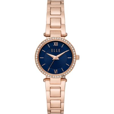 ELLE Muette 雅典娜晶鑽女錶-藍x玫瑰金/28mm ELL25015