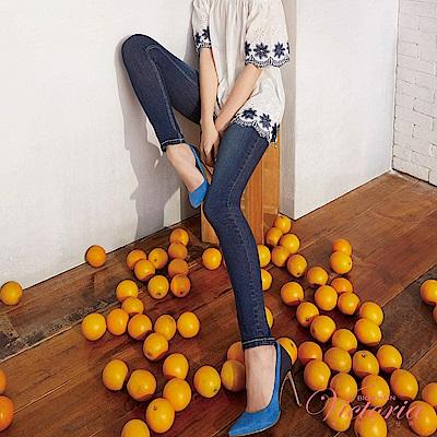 Victoria 中腰多色鑲鑽窄管褲-女-深藍