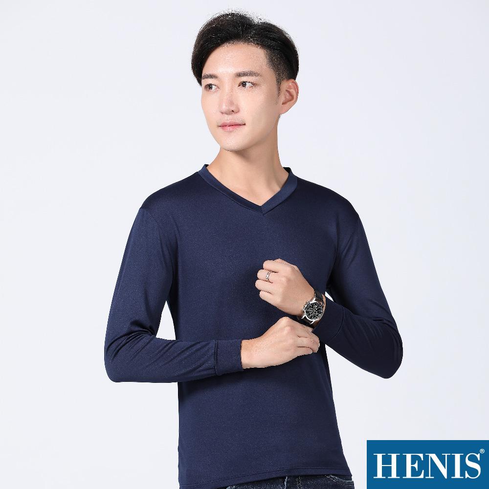 HENIS 極致羽感 內刷毛機能保暖衣-V領-丈青(3入)