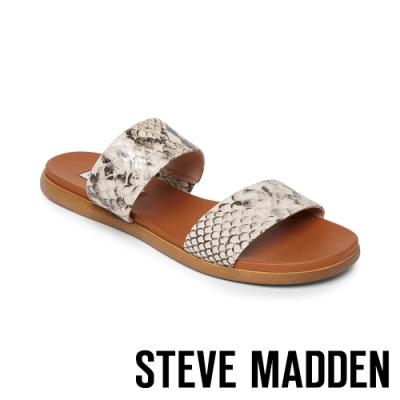 STEVE MADDEN-DUAL 亮眼目光 蛇皮紋二字帶拖鞋-金色