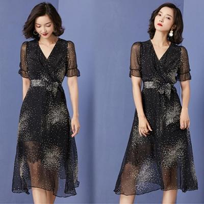 【韓國K.W.】機能夏日焦點短袖洋裝