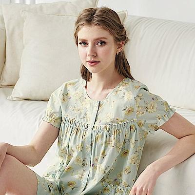 羅絲美睡衣 -夢幻花園短袖衣褲睡衣(海棠綠)