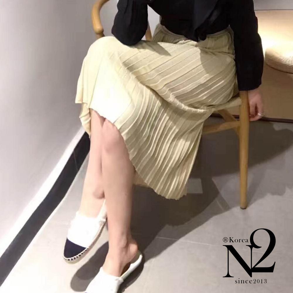 下著 金屬混色素面薄針織彈性百褶長裙 (黃) N2 @ Y!購物