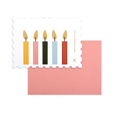 Dailylike 郵票造型卡片信封組-10 生日蠟燭