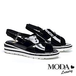 涼鞋 MODA Luxury 潮流鏡面交叉帶設計撞色厚底涼鞋-黑