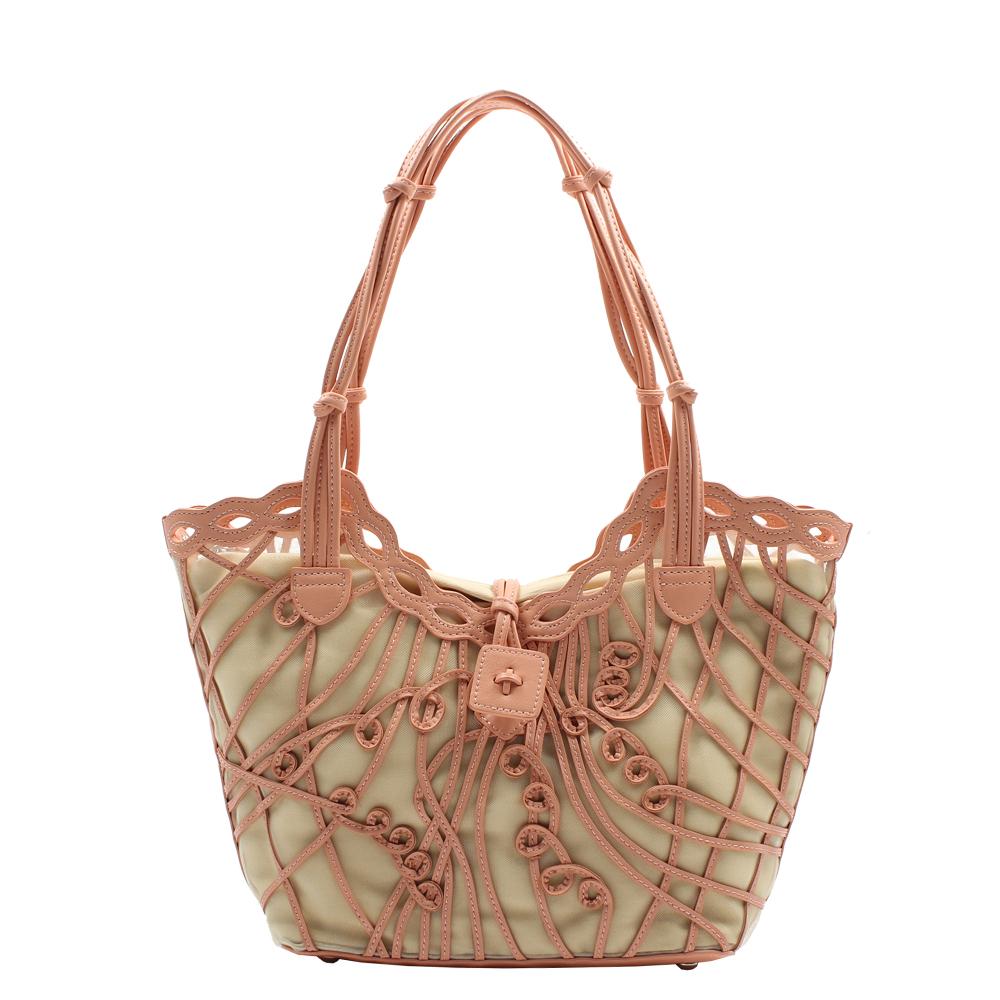 Omdi 甜美真皮手提包-粉紅色