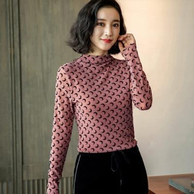 設計所在Lady-網紗內搭長袖修身立領植絨上衣(三色M-3XL可選)